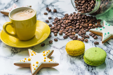 Still life with coffee and dessert on marble background