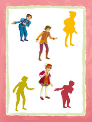 cartoon page with medieval characters king prince or servant game with shapes