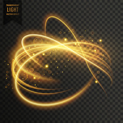 golden transparent light effect with curve trails and sparkles