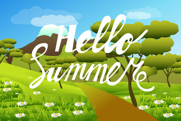Hello summer . Summer landscape, nature. Mountains , trees, meadow and flowers. Cartoon. Vector illustration.