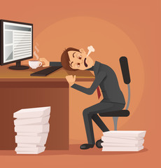 Hard work. Tired unhappy office worker man character trying to work. Vector flat cartoon illustration