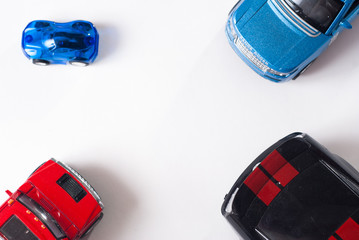Colorful toy car, top view,