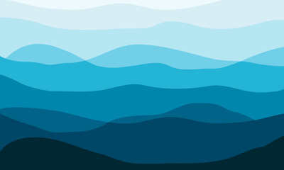 Layered mountains landscape in the morning. Waves vector background.