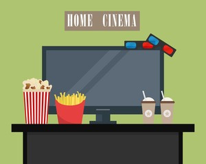 Home cinema. There is home cinema, 3D glasses, popcorn, french fries and coffee in the picture. Watch movies online concept. Raster copy.