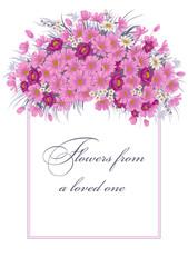 Цветы. Векторная открытка с растительным узором. Винтаж.