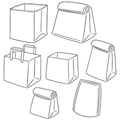 vector set of paper bag