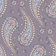 Seamless pattern paisley ornamental background design for fabric in soft pastel colors vector illustration