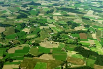 Fototapeten Luftaufnahme Aerial view of farmlands in Germany.