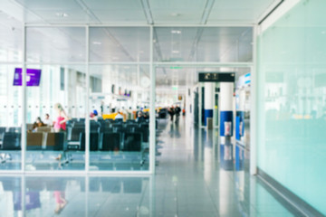 Passenger terminal inside the airport. Blurred image. Suitable for background.