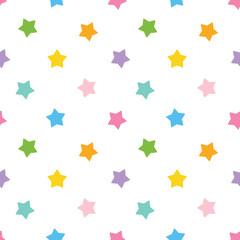 Cute colorful stars seamless pattern background.