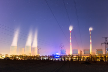 modern thermal power plant at night