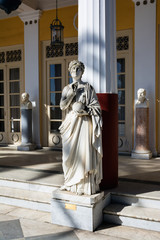 Statue of a Greek mythical muse in Achilleion palace, Corfu Island, Greece, built by Empress of Austria Elisabeth of Bavaria, also known as Sisi.