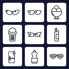 Set of 9 outline cool icons