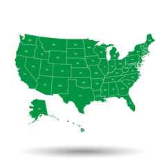 USA map with federal states. Vector illustration United states of America.
