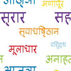 seamless pattern with names of chakras in Sanskrit for your design