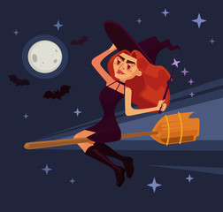 Evil witch woman character flying on broom. Vector flat cartoon illustration