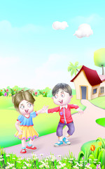 boy and girl on the way of house