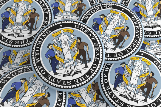 US State Buttons: Pile of Wyoming Seal Badges, 3d illustration