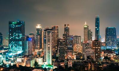 Panorama scene of city centre in Bangkok, Thailand