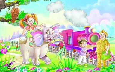 elephant, engine, girl, postman,latter, sugarcane