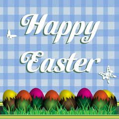 Colorful background with Easter eggs and the text Happy Easter written on a blue background