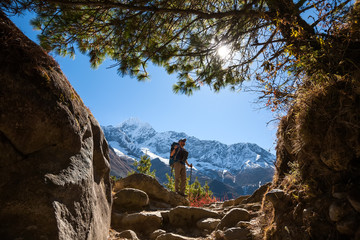 Trekker in lower Himalayas
