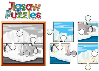 Jigsaw puzzle game with animals in north pole