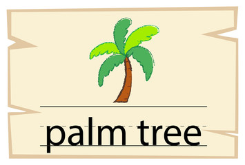 Wordcard template for word palm tree