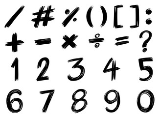 Black font design for numbers and signs