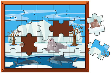 Jigsaw puzzle pieces of walrus and sharks