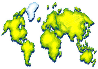 World map with green color on land