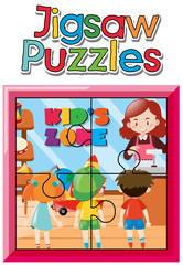Jigsaw puzzle game template with kids in shop