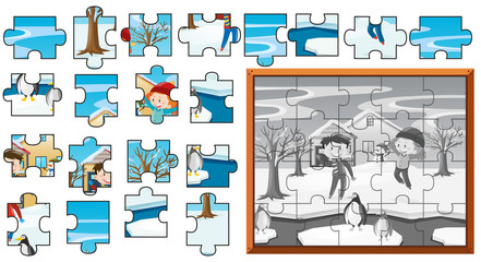 Jigsaw puzzle game template with kids in snow