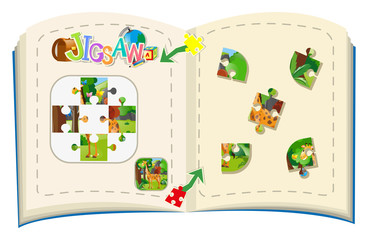 Jigsaw puzzle game with giraffe in forest