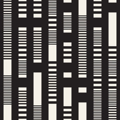 Black and White Dashed Lines Pattern. Modern Abstract Vector Seamless Background
