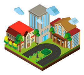 City scene with buildings and road in 3D design