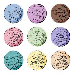Set of stylized colorful vintage ice cream