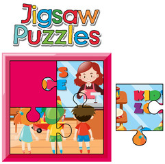 Jigsaw puzzle game with kids in shop
