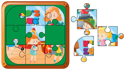 Jigsaw puzzle game with kids in room