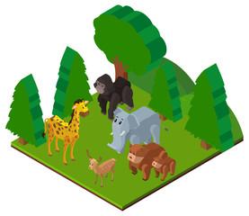 Wild animals in forest in 3D design