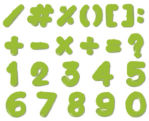 Font design for numbers and signs in green color