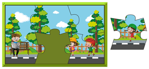 Jigsaw puzzle game with kids in park