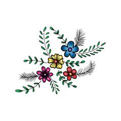 Bouquet doodle flowers floral elements