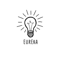 Lamp bulb isolated over white background with handwritten lettering EUREKA