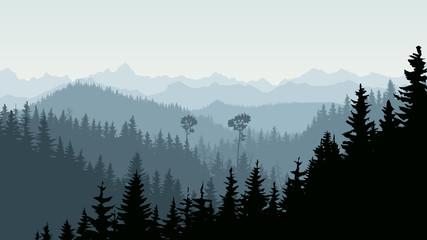Horizontal illustration of morning mist in forest hills.