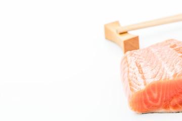 Fresh salmon steak on white background.