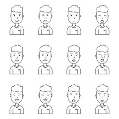 Boy face expressions, set collection