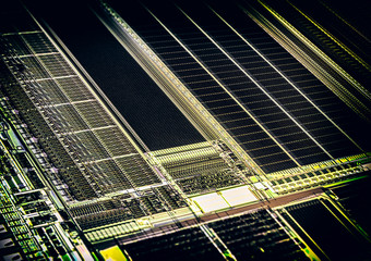 Microscopic View of Silicon Microchip
