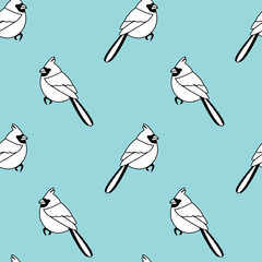 Vector seamless pattern with color birds