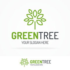 Green tree logo set line style for use nature firm, natural product, organic shop, ecology company, alternative medicine, green unity, garden, farming, forest etc. Vector Illustration